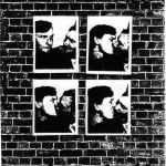 """""""Queer Tales"""" cover. Black and white. Four pictures of a gay couple kissing displayed over a wall."""