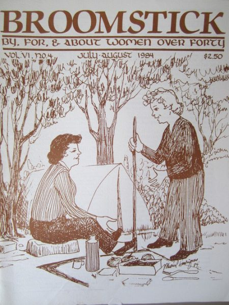 """""""Broomstick"""" cover with illustration of two white women camping"""