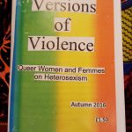 """""""Versions of Violence: Queer Women and Femmes on Heterosexism"""" title over a rainbow coloured background"""
