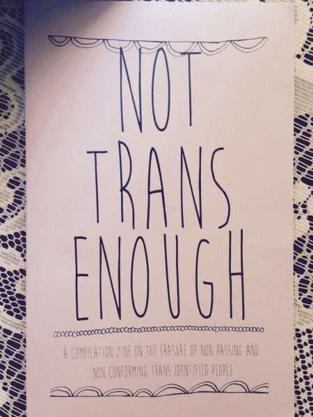 """Black and white """"Not trans enough"""" cover"""
