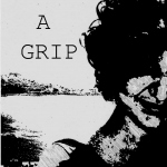 """Black and white cover of zine with negative picture of a femme looking person and title """"Get a grip. Travels through my mental health""""."""