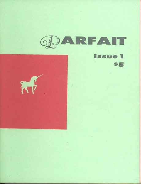 Cover image of Parfait issue 1 $5.  Cover is mint green with a red square on the left hand side.  Inside the square is an outline of a small unicorn also in mint green.